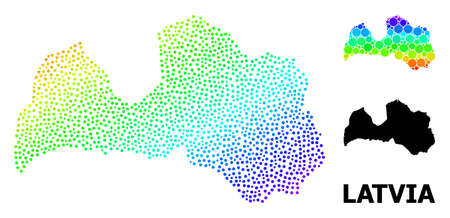 Dot spectral, and solid map of Latvia, and black tag. Vector structure is created from map of Latvia with circles. Collage is useful for political purposes. Spectral gradient map of Latvia,