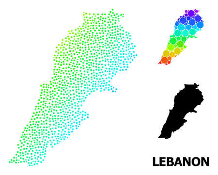 Dot spectral, and monochrome map of Lebanon, and black name. Vector structure is created from map of Lebanon with circles. Abstraction for geographic aims. Spectral gradient map of Lebanon,