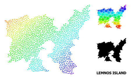 Pixel spectral, and monochrome map of Lemnos Island, and black caption. Vector structure is created from map of Lemnos Island with round dots. Abstraction is useful for political purposes.
