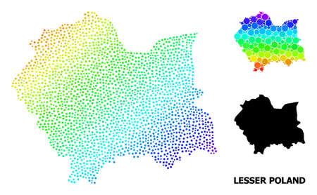 Pixel spectrum, and monochrome map of Lesser Poland Province, and black title. Vector model is created from map of Lesser Poland Province with round dots. Collage designed for political posters.