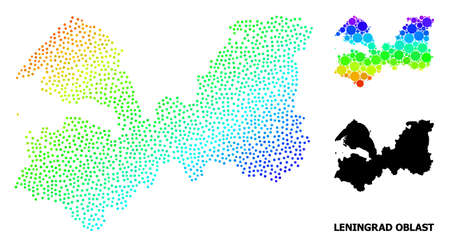 Dotted spectrum, and monochrome map of Leningrad Region, and black tag. Vector model is created from map of Leningrad Region with spheres. Abstraction is useful for political templates. Ilustração