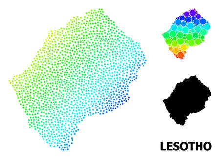 Pixelated spectrum, and monochrome map of Lesotho, and black title. Vector structure is created from map of Lesotho with circles. Template is useful for political templates. Ilustração