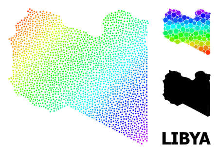 Pixel bright spectral, and solid map of Libya, and black title. Vector model is created from map of Libya with round dots. Illustration is useful for geographic ads. Bright gradient map of Libya,