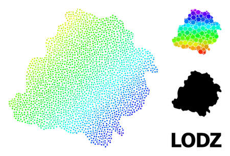 Pixel spectrum, and solid map of Lodz Province, and black caption. Vector structure is created from map of Lodz Province with circles. Illustration is useful for geographic templates. 向量圖像