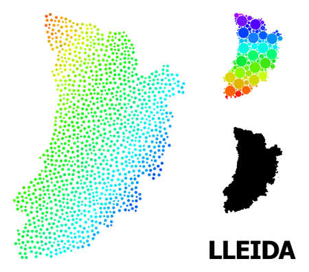 Dot spectrum, and solid map of Lleida Province, and black text. Vector model is created from map of Lleida Province with round dots. Abstraction designed for political templates.