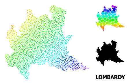 Dotted spectral, and solid map of Lombardy region, and black caption. Vector structure is created from map of Lombardy region with spheres. Collage is useful for geographic templates.