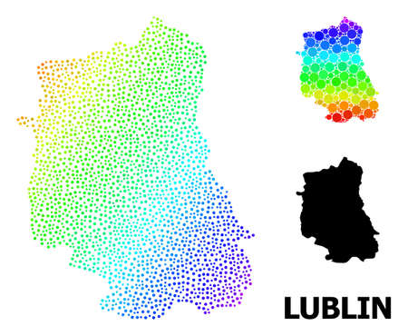 Pixelated bright spectral, and solid map of Lublin Province, and black title. Vector model is created from map of Lublin Province with spheres. Template designed for political ads.