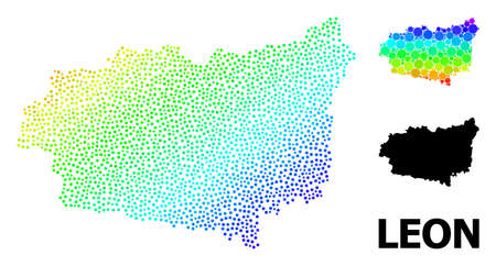 Pixelated spectrum, and monochrome map of Leon Province, and black name. Vector structure is created from map of Leon Province with spheres. Illustration is useful for geographic templates.