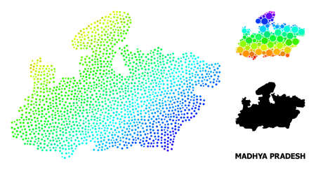 Dotted rainbow gradient, and solid map of Madhya Pradesh State, and black name. Vector structure is created from map of Madhya Pradesh State with circles. Collage is useful for geographic aims.