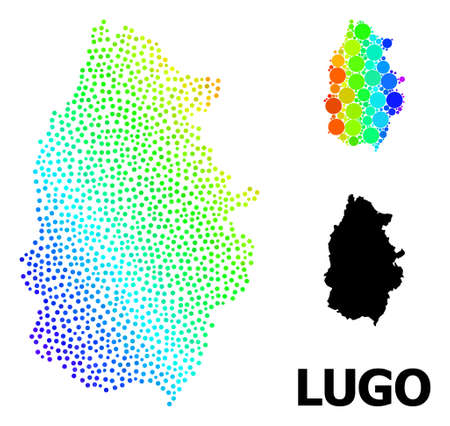 Dotted spectral, and monochrome map of Lugo Province, and black text. Vector structure is created from map of Lugo Province with circles. Illustration is useful for geographic ads. Ilustração