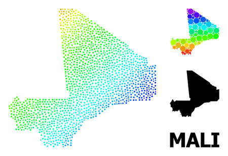 Pixelated rainbow gradient, and monochrome map of Mali, and black text. Vector model is created from map of Mali with circles. Abstraction designed for political aims. Spectrum gradient map of Mali,