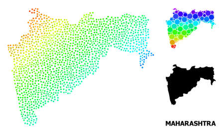 Dot spectral, and monochrome map of Maharashtra State, and black caption. Vector structure is created from map of Maharashtra State with round dots. Template designed for political ads. Ilustração