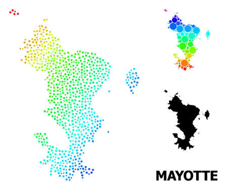 Dot spectrum, and solid map of Mayotte Islands, and black text. Vector structure is created from map of Mayotte Islands with spheres. Template is useful for political aims.