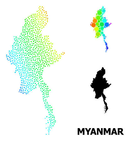 Dot spectrum, and monochrome map of Myanmar, and black caption. Vector model is created from map of Myanmar with circles. Illustration is useful for geographic posters.