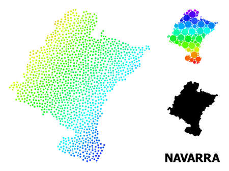 Dot bright spectral, and monochrome map of Navarra Province, and black text. Vector structure is created from map of Navarra Province with circles. Illustration is useful for geographic aims.