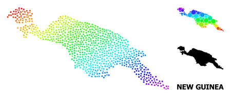 Dot rainbow gradient, and monochrome map of New Guinea Island, and black name. Vector model is created from map of New Guinea Island with circles. Illustration is useful for political templates.
