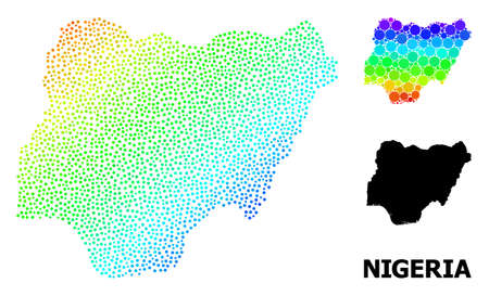 Pixelated spectrum, and solid map of Nigeria, and black title. Vector model is created from map of Nigeria with round dots. Template is useful for political aims. Spectrum gradient map of Nigeria,