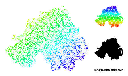 Dot bright spectral, and monochrome map of Northern Ireland, and black name. Vector structure is created from map of Northern Ireland with spheres. Abstraction is useful for geographic ads.