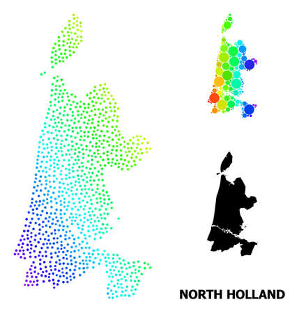 Pixelated bright spectral, and solid map of North Holland, and black text. Vector model is created from map of North Holland with circles. Abstraction is useful for political purposes.