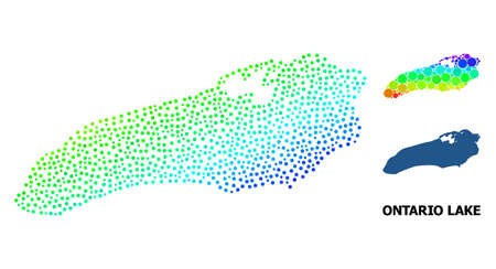 Dotted rainbow gradient, and solid map of Ontario Lake, and black name. Vector structure is created from map of Ontario Lake with spheres. Template is useful for political purposes.