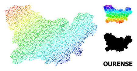 Pixelated bright spectral, and monochrome map of Ourense Province, and black title. Vector structure is created from map of Ourense Province with spheres. Collage is useful for political aims.