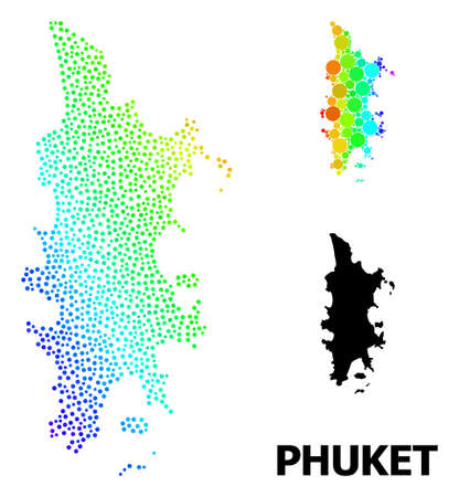 Dot rainbow gradient, and monochrome map of Phuket, and black tag. Vector model is created from map of Phuket with round dots. Illustration is useful for geographic posters.