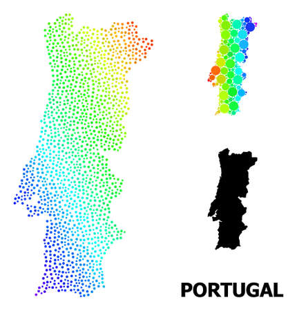 Dotted spectrum, and monochrome map of Portugal, and black tag. Vector structure is created from map of Portugal with round dots. Illustration is useful for political aims. 向量圖像