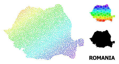 Pixel bright spectral, and solid map of Romania, and black text. Vector structure is created from map of Romania with round dots. Illustration is useful for political aims.