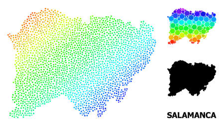 Dot bright spectral, and monochrome map of Salamanca Province, and black tag. Vector structure is created from map of Salamanca Province with circles. Collage for political templates.