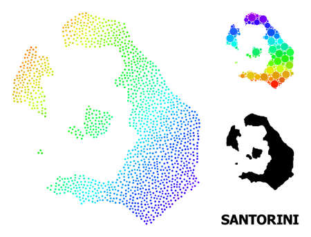 Dotted rainbow gradient, and solid map of Santorini Island, and black name. Vector model is created from map of Santorini Island with circles. Abstraction is useful for political aims. 向量圖像