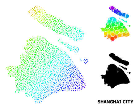 Dotted rainbow gradient, and solid map of Shanghai Municipality, and black tag. Vector model is created from map of Shanghai Municipality with round dots. Collage is useful for geographic aims.