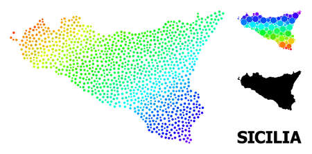 Dotted rainbow gradient, and monochrome map of Sicilia Island, and black caption. Vector model is created from map of Sicilia Island with round dots. Abstraction is useful for geographic purposes.