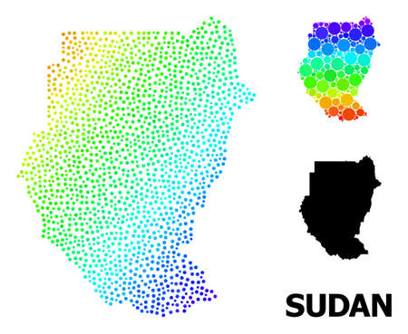 Dotted rainbow gradient, and solid map of Sudan, and black tag. Vector model is created from map of Sudan with circles. Abstraction designed for political aims. Colorful gradient map of Sudan,