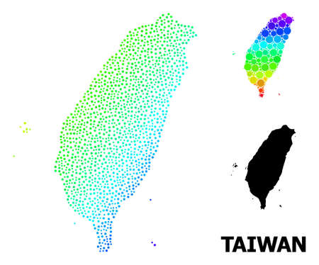 Dotted rainbow gradient, and monochrome map of Taiwan, and black text. Vector structure is created from map of Taiwan with circles. Abstraction is useful for geographic aims.