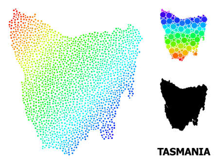 Pixelated spectrum, and solid map of Tasmania Island, and black tag. Vector structure is created from map of Tasmania Island with spheres. Template is useful for geographic templates.