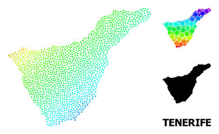 Pixel rainbow gradient, and solid map of Tenerife Island, and black tag. Vector model is created from map of Tenerife Island with round dots. Template is useful for political purposes. Illustration