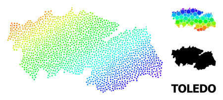 Pixel spectrum, and monochrome map of Toledo Province, and black caption. Vector structure is created from map of Toledo Province with spheres. Illustration is useful for geographic posters.