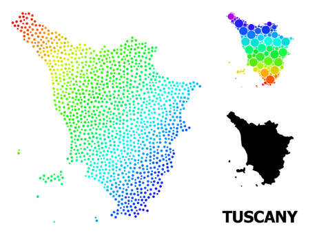 Dotted rainbow gradient, and monochrome map of Tuscany region, and black tag. Vector structure is created from map of Tuscany region with spheres. Illustration is useful for political posters.