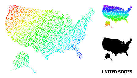 Pixel rainbow gradient, and solid map of USA and Alaska, and black text. Vector structure is created from map of USA and Alaska with spheres. Abstraction is useful for geographic purposes. 向量圖像