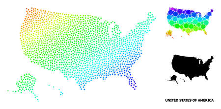 Pixelated rainbow gradient, and solid map of USA territories, and black text. Vector structure is created from map of USA territories with round dots. Illustration for geographic aims.