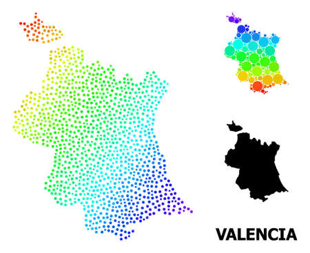 Pixelated rainbow gradient, and solid map of Valencia Province, and black title. Vector model is created from map of Valencia Province with round dots. Abstraction is useful for political templates. 向量圖像
