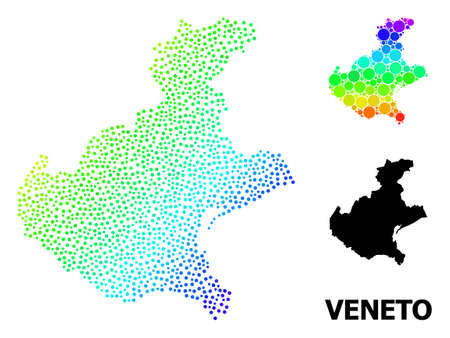 Pixel rainbow gradient, and solid map of Veneto region, and black caption. Vector structure is created from map of Veneto region with circles. Collage for political ads.