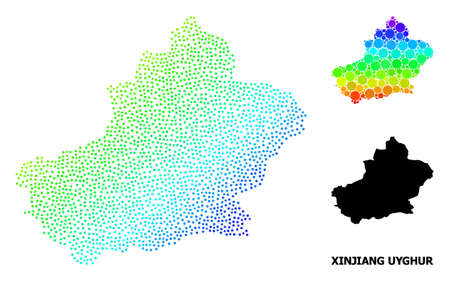 Pixelated spectrum, and monochrome map of Xinjiang Uyghur Region, and black tag. Vector structure is created from map of Xinjiang Uyghur Region with round dots.