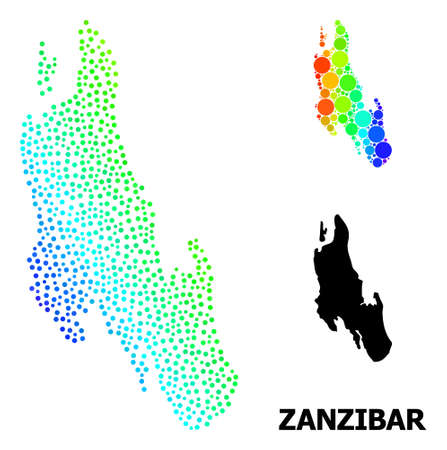 Dotted spectrum, and monochrome map of Zanzibar Island, and black name. Vector structure is created from map of Zanzibar Island with spheres. Template is useful for geographic ads.