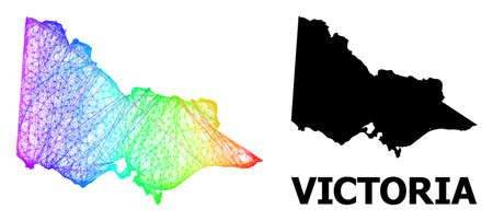 Net and solid map of Australian Victoria. Vector model is created from map of Australian Victoria with intersected random lines, and has rainbow gradient.