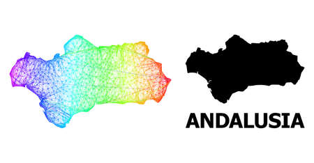 Wire frame and solid map of Andalusia Province. Vector structure is created from map of Andalusia Province with intersected random lines, and has spectral gradient. Stock Illustratie