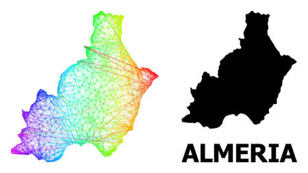 Wire frame and solid map of Almeria Province. Vector structure is created from map of Almeria Province with intersected random lines, and has spectrum gradient.