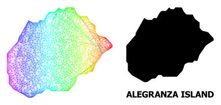 Wire frame and solid map of Alegranza Island. Vector model is created from map of Alegranza Island with intersected random lines, and has bright spectral gradient.