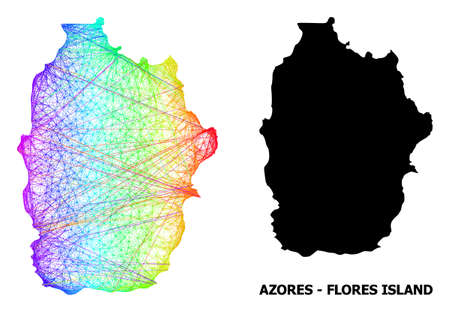 Wire frame and solid map of Azores - Flores Island. Vector structure is created from map of Azores - Flores Island with intersected random lines, and has rainbow gradient.