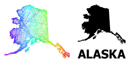 Wire frame and solid map of Alaska State. Vector structure is created from map of Alaska State with intersected random lines, and has bright spectral gradient. Abstract lines form map of Alaska State.